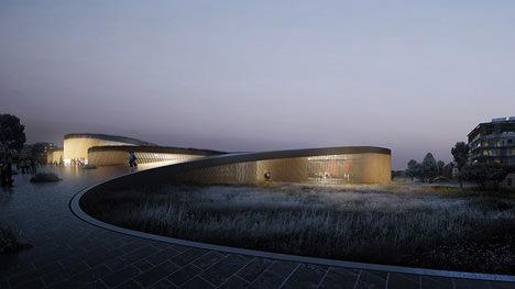 サムネイル:BIGのチームによるフランス・モンペリエの人体博物館設計コンペの勝利案