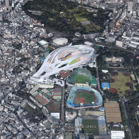 サムネイル:ザハの新国立競技場をグーグルアース上で3Dで見ることができ、景観について考えることができるサイト「myscape.jp」が公開