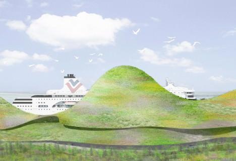 サムネイル:石上純也のチームによる台湾の金門港フェリーターミナル設計コンペの勝利案