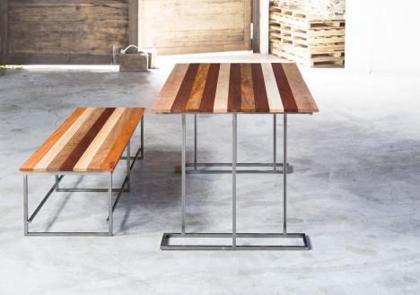 サムネイル:宮城島崇人建築設計事務所によるテーブルとベンチ「Moku-dai 001」