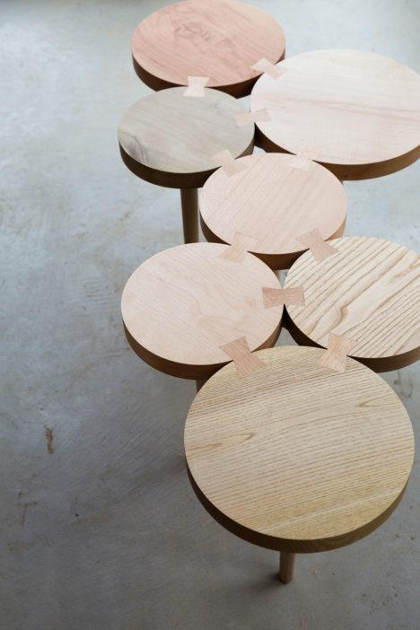 サムネイル:ツバメアーキテクツによる、小径木広葉樹を活用した家具「KINOKO」
